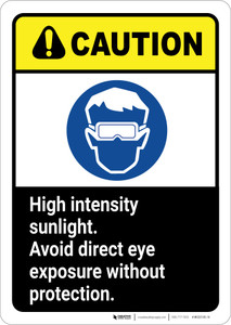 Caution: High Intensity Sunlight Avoid Eye Exposure ANSI - Wall Sign
