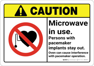 Caution: Microwave in Use with Icon ANSI - Wall Sign