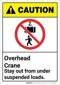 Caution: Overhead Crane Stay Out From Under Suspended Loads ANSI - Wall Sign