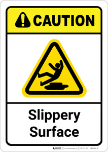 Caution: Slippery Surface ANSI - Wall Sign