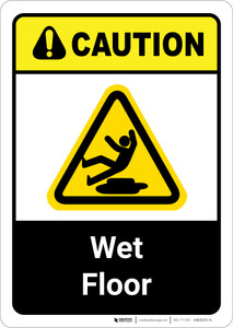 Caution: Wet Floor ANSI - Wall Sign