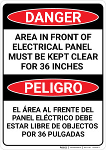 Danger: Panel Must be Kept Clear Bilingual Spanish - Wall Sign