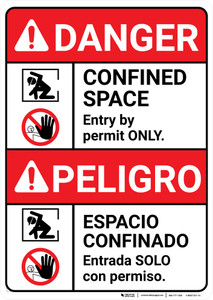 Danger: Confined Space Entry by Permit Bilingual Spanish - Wall Sign