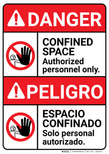 Danger: Confined Space Authorized Only ANSI Bilingual Spanish - Wall Sign