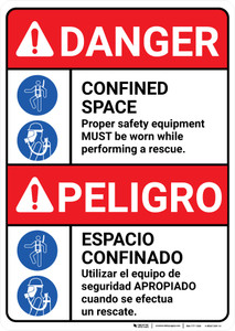 Danger: Confined Space Safety Equipment Must be Worn Bilingual Spanish - Wall Sign