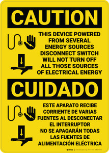Caution: Device Powered from Seveal Sources Bilingual Spanish - Wall Sign