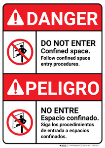 Danger: Do Not Enter Confined Space Bilingual Spanish - Wall Sign