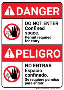 Danger: Do Not Enter Confined Space Permit Required Bilingual Spanish - Wall Sign