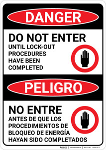 Danger: Do Not Enter Until Lockout Completed Bilingual Spanish - Wall Sign