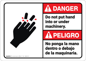 Danger: Do Not Put Hand Under Machinery Bilingual Spanish - Wall Sign