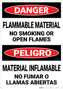 Danger: Flammable Material No smoking Open Flames Bilingual Spanish - Wall Sign