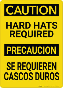 Caution: Hard Hats Required Bilingual Spanish - Wall Sign