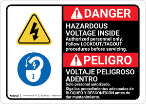 Danger: Hazardous Voltage Inside Follow Lockout Tagout Bilingual Spanish - Wall Sign