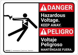 Danger: Hazardous Voltage Keep Away Bilingual Spanish - Wall Sign