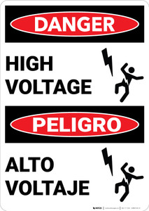 Danger: High Voltage with Graphic Bilingual Spanish - Wall Sign
