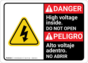 Danger: High Voltage Inside Do Not Enter with Graphic Bilingual Spanish - Wall Sign