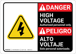 Danger: High Voltage Authorized Only with Graphic Bilingual Spanish - Wall Sign