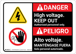 Danger: High Voltage Keep Out Authorized only with Graphic Bilingual Spanish - Wall Sign