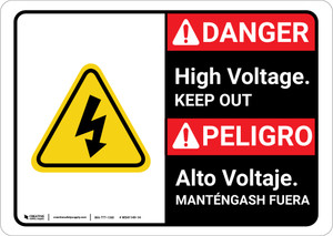 Danger: High Voltage Keep Out with Graphic Bilingual Spanish - Wall Sign