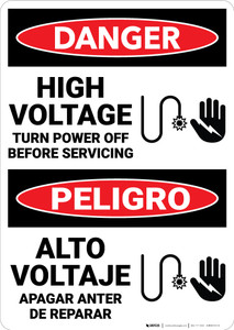 Danger: High Voltage Turn Power Off Before Servicing  Bilingual Spanish - Wall Sign