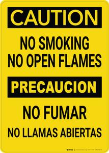 Caution: No Smoking No Open Flames Bilingual Spanish - Wall Sign