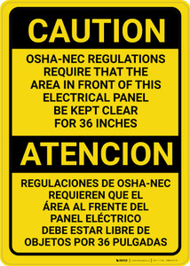 Caution: OSHA NEC Require Panel Be Kept Clear Bilingual Spanish - Wall Sign