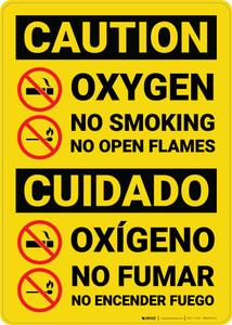 Caution: Oxygen No Smoking No Flames Bilingual Spanish - Wall Sign