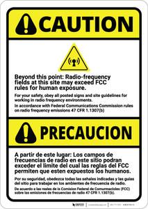 Caution: Radio Frequency Fields May Exceed FCC Rules Bilingual Spanish - Wall Sign
