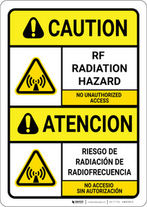 Caution: RF Radiation Hazard ANSI Bilingual Spanish - Wall Sign