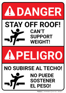 Danger: Stay Off Roof Can't Support Weight Bilingual Spanish - Wall Sign