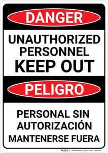 Danger: Unauthorized Personnel Keep Out Bilingual Spanish - Wall Sign