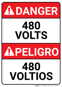 Danger: 480 Volts Bilingual Spanish - Wall Sign