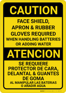 Caution: PPE Required When Handling Batteries Bilingual Spanish - Wall Sign