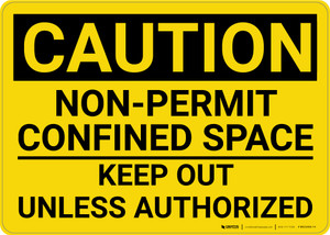 Caution: Non Permit Confined Space Keep Out Unless Authorized - Wall Sign