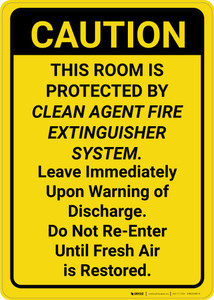 Caution: Room is Protected by Clean Agent Fire Extinguisher Vertical - Wall Sign