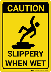 Caution: Slippery When Wet With Graphic Vertical - Wall Sign