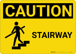 Caution: Stairway With Graphic - Wall Sign