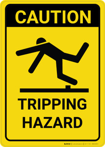 Caution: Tripping Hazard with Graphic Vertical - Wall Sign