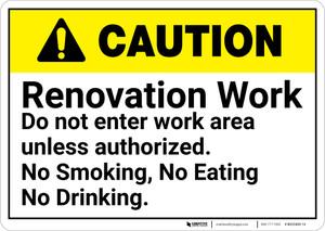 Caution: Renovation Work No Entry No Smoking Eating Drinking - Wall Sign