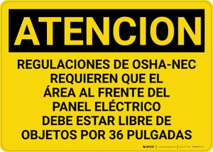 Caution: OSHA NEC Regulations Requires Spanish - Wall Sign