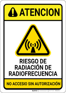 Caution: RF Radiation Hazard Spanish - Wall Sign