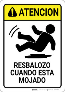 Caution: Slippery When Wet Spanish - Wall Sign