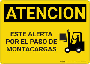 Caution: Watch For Forklifts Spanish - Wall Sign
