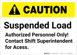 Caution: Suspended Load Authorized Personnel Only - Wall Sign