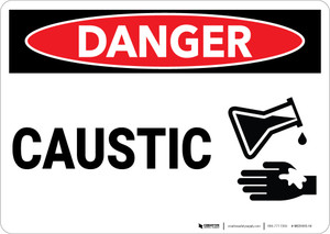 Danger: Caustic Sign With Icon - Wall Sign