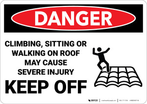 Danger: Climbing Sitting Walking On Roof May Cause Injury Sign With Icon - Wall Sign