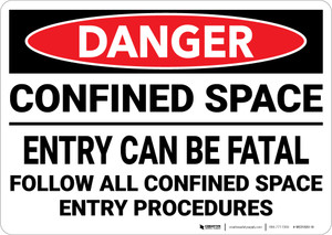Danger: Confined Space Entry Can Be Fatal - Wall Sign