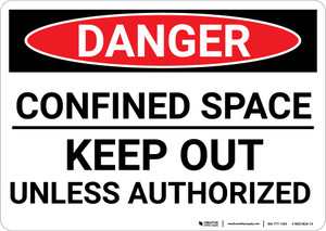 Danger: Confined Space Keep Out Unless Authorized - Wall Sign