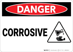 Danger: Corrosive Sign With Icon - Wall Sign