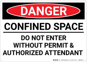 Danger: Do Not Enter Without Permit and Authorized Attendant - Wall Sign
